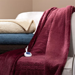 Beautyrest - Beautyrest Microlight Reverse To Berber Heated Throw - Immerse yourself in comfort in the BeautyRest Heated Microlight reverse to Berber Heated Throw. This heated throw utilizes state of the art Secure Comfort heated technology that adjusts the temperature of your blanket based on overall temperature, spot temperatures and the ambient temperature of your room, ensuring a consistent flow of warmth. This unique technology also emits virtually no EMF emissions, so you can snuggle up with confidence. This throw is oversized, nearly a foot larger in the length and width compared to standard heated throws. The ultra soft microlight fabric combines with billowy berber in this cozy, comfortable throw. Featuring 3 heat settings, this throw is machine washable for easy care. Face: solid microlight 200gsm, 100% polyester Reverse: match face color micro berber, 220gsm, 100% polyester