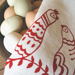 Folk Birds Tea Towel by Madder Root - Drying the dishes would actually be a pleasure with this pretty hand-printed organic linen tea towel. Those fun little folk birds in cherry red would also make a great housewarming or hostess gift.
