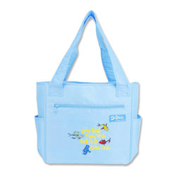"""Trend Lab - Diaper Bag - Dr. Seuss One Fish Two Fish Tulip Tote - Hit the road equipped and in style with this Dr. Seuss One fish two fish Tote Bag by Trend Lab. Nylon bag features a cornflower blue body and lining with one fish two fish red fish blue fish embroidered on the front. Outside of the bag has two side bottle pockets, a front zippered pocket and a wide pocket across the back. Inside are four pockets that will keep all your travel necessities organized. Magnet closure keeps inside contents secure. Removable, coordinating changing pad and transparent dirty duds zippered pouch included. Bag: approximately 13"""" x 12"""" x 7"""" with 24"""" straps, Changing Pad: 24"""" x 14"""", Dirty Duds Pouch: 10"""" x 8"""". Product sold under license from Dr. Seuss Enterprises, L.P."""