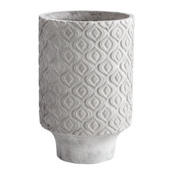 Cyan Design - Cyan Design Reno Transitional Planter - Medium X-01460 - This Cyan Design planter from the Reno Collection starts with cement construction, which accentuates its modern look. The cylindrical body of this transitional planter is complimented by a curvilinear repeating diamond pattern, finished up in a Sandstone hue.