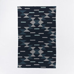 Miac Dragonfly Wool Dhurrie - I like the sharp edges and crisp geometric pattern on this tribal-inspired rug.