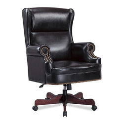 Coaster - Traditional Winged Executive Chair in Black - Faux leather upholstery. High back. Pneumatic seat height adjustment. Petite flared arms. Classic nail head trim accents. Adjustable height gas lift. Casters below wooden base for easy mobility. 31 in. W x 34.5 in. D x 44 in. - 46.75 in. H. WarrantyThis sophisticated executive office chair will add both style and comfort to your home office. Create a warm and stylish home office with this beautiful traditional executive chair.