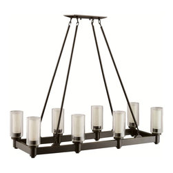 KICHLER - KICHLER 2943OZ Circolo Soft Contemporary / Casual Lifestyle Rectangular Chandeli - Smooth and tailored, this rectangular, 8-light chandelier combines contemporary design with European flair. Clear cylindrical glass globes with Umber-Etched centers repeat the circular theme extending the artistry. A stylish Olde Bronze(R) finish completes the look.