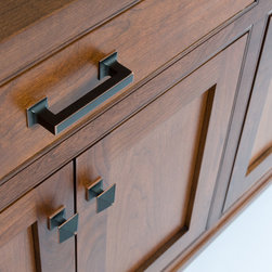 Custom Cherry Buffet - We used an oil rubbed bronze square pull for the 2 drawers.
