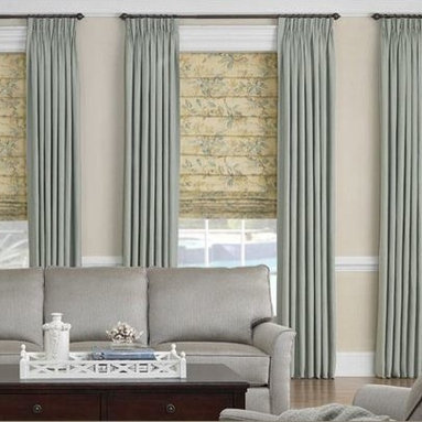 Roman Shades- 3 Day Blinds- Living Room - 3 Day Blinds refers to these as Soft Roman Shades, and are known for their versitility. 3 Day Blinds offers 5 different shade styles, from a top down, bottom up feature to the gathered and pleated roman shade, this shade can compliment any rooms decor.