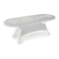 "Forever Patio - Rockport 84 in. Round Patio Dining Table, White Wicker - Turn your patio into a charming outdoor dining space with the generously sized Rockport 84"" Oval Dining Table (SKU FP-ROC-84DT-WH). Its UV-protected White wicker and round-weave design creates a cheery, traditional look that is made to last. The top of the table has an umbrella hole for the option to add your own shade to your dining experience. This table also includes a tempered glass top, providing a beautiful and durable surface that is easy to maintain."