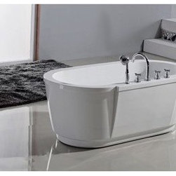 "Aquatica - Aquatica PureScape 114 Freestanding Acrylic Bathtub - White - Treat yourself and soak in peaceful tranquility with Aquatica's stylish and ergonomic PureScape 114 freestanding bathtub. Aquatica challenges everything we thought we knew about a bathtub with the world-class modern design and ergonomic features that are incorporated into all of their luxury tubs. Aquatica Purescape bathtubs are as pleasing to the eye as they are to soak in. Their striking visual appeal adds a mesmerizing modern elegance to any bathroom. From the finest selection of raw materials all the way to the high-class design, Aquatica has spared no expense to innovate and create some of the highest quality bathtubs in the world.Aquatica's bathtubs offer modern glamour at affordable prices. The Aquatica line is diverse enough to encompass both bathtubs with classical elegance that match the style of your bath and bathtub models that are distinctive and unique as the centerpiece of your remodel.FeaturesStriking upscale modern designFreestanding constructionSolid, one-piece construction for safety and durabilityExtra deep, full-body soakErgonomic design forms to the body's shape for ultimate comfortQuick and easy installationConstructed of 8mm thick 100% heavy gauge sanitary grade precision acrylicPremium acrylic and tub thickness provides for excellent heat retentionHigh gloss white surfaceColor is consistent throughout its thickness - not painted onColor will not fade or lose its brilliance overtimePreinstalled cable drive pop up and waste-overflow fitting includedDesigned for one or two person bathingNon-porous surface for easy cleaning and sanitizingBuilt-in metal base frame and adjustable height metal legsChrome plated drain5 Year Limited WarrantyCode compliant with American standard 1.5"" waste outletsSpecificationsOverall Dimensions: 62.67 in. L X 31.5 in. W X 23.67 in. HDepth to Overflow Drain: 15 in.Interior Depth: 17.75 in.Interior Length (Top): 56.33 in.Interior Width (Top): 23.75 in.Interior Length (Bottom): 42.5 in.Interior Width (Bottom): 19 in.Weight: 140 lbsCapacity: See Spec SheetShape: OvalDrain Placement: CenterSpec SheetNote: This model usually ships in 4-6 weeks. Please allow an additional 2-3 business days for order transmittal and verification."