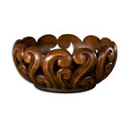 Uttermost - Uttermost Merida Wood Tone Decorative Bowl 19493 - This ornate bowl features an open design with a warm wood tone finish.