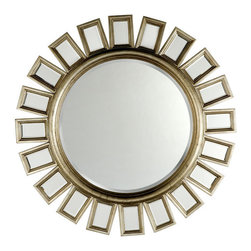 Z Gallerie - Devon Mirror - This contemporary take on a starburst mirror is a great marriage of retro and modern-day style. The marriage of rectangular mirrors and the large circular mirror is great play for those who love geometry.