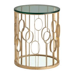 "Arteriors - Arteriors Zena Iron/Glass/Mirror Side Table - Mid-century modern style lends glamour to the open-frame design of the Zena side table by Arteriors. Its geometric iron frame supports a sleek round tabletop for a remarkable accent in the living room or bedroom. 20"" Dia x 25""H"