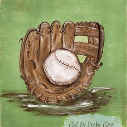 William's Baseball Glove Boys Kids Sports Canvas Art - This piece captures the spirit of every boys favorite past-time, baseball! This piece is simply timeless, enjoyed by both the young and the young at heart.  Art is on stretched canvas so there is no need to frame.