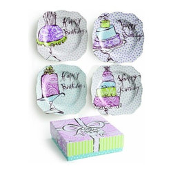Rosanna - Happy Birthday Dessert Plates- Set of 4, By Rosanna - Happy Birthday, one of our most beloved collections, featuring hand -drawn, topsy -turvy cakes, is a perfect for celebrating family occasions.