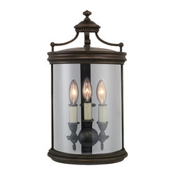 Fine Art Lamps - Louvre Outdoor Coupe, 539081ST - If you're tired of a dark and dreary exterior, light up the night with this gorgeous outdoor hanging lantern. An old-world shape in dark bronze encircles the clear, handblown glass shade and three lights. Simply brilliant.