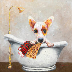 YOSEMITE HOME DECOR - Bath Time Art Painted on Canvas - Your pet deserves a beautiful bathtub especially when you've got a charming darling like this. The original hand painted artwork in cotton canvas features a dark-eyed chihuahua seemingly enjoying her bathtub. This acrylic painting is heavily textured in hues of brown, cream, yellow, and red. The rendition of the bathtub is accented by a nice background of white and gray in the wall. The painting includes hangers for wall mounting and inner wood frame wrapped with the canvas.