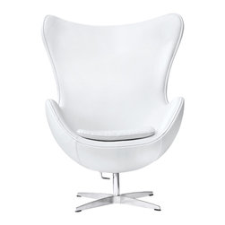 Lemoderno - Egg Chair In Leather by Lemoderno, White Leather - This wonderful chair features a molded fiberglass frame, fire retardant polyurethane foam padding, and covered with 100% Italian leather. This item is a high quality reproduction of the original.