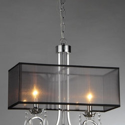 Warehouse of Tiffany - French Crystal Chandelier - Add modern elegance to your home with this French crystal chandelier. This dynamic lighting element features a sheer black rectangular shade and crystal accents to reflect the light.