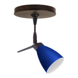 """Besa Lighting - Besa Lighting 1SP-504487 Andi MR11 Halogen Spot Light - Andi has an elongated bell shape that complements aesthetic, while also built for optimal illumination. Our Blue Matte glass is a dark primary blue pressed glass, with a white inner layer. This decor can add an edgy, classic, or contemporary feel to any room. When lit this gives off a light that is functional and soothing. The smooth satin finish on the clear outer layer is a result of an extensive etching process. This handcrafted glass uses a process where every glass is consistently produced using a press mold, keeping variations to a minimum. The 12V spotlight fixture is equipped with a 1.5"""" long stem, swivel lampholder, quick connect jack, and a low profile flat monopoint canopy.Features:"""