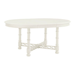Lexington - Lexington Ivory Key Knapton Hill Round Dining Table 543-875C - Ideal for the breakfast area or dining room, the round table seats four comfortably or add the 18 inch leaf for two additional chairs. The decoratve stretcher provides the proper support yet adds a touch of design that is both fresh and eye-catching.