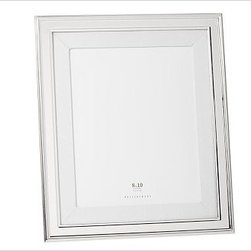"""Silver-Plated White Grosgrain Mat Frame, 8 x 10"""" with Optional Vertical Personal - These elegant frames get their classic style from a border of silver-plated steel, a white grosgrain ribbon archival mat and black velvet backing. 7.5"""" wide x 9.5"""" high; holds a 4 x 6"""" photo 8.5"""" wide x 10.5"""" high; holds a 5 x 7"""" photo 1.5"""" wide x 13.5"""" high; holds a 8 x 10"""" photo Frame is made of steel with a silver-plated finish. White grosgrain ribbon archival mat. Monogramming is available at an additional charge. Can be monogrammed with initials or up to 20 characters centered above and below the photo opening. Catalog / Internet only."""