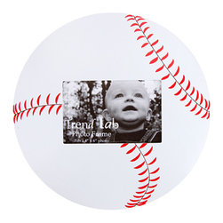 "Trend Lab - Photo Frame - Baseball - Complement any room with this stylish Baseball Photo Frame by Trend Lab. The baseball shaped frame features a white body with red stitching. Frame has 11"" diameter and holds a 4"" x 6"" photo. Mounting hardware is attached to the back for easy hanging."
