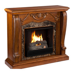 Holly & Martin - Taylor Fireplace, Walnut, Gel - A beautiful walnut finish, Victorian-esque design, and faux marble combine to create this timeless design; add the beauty and romance of a glowing fire and you have a versatile electric fireplace that will complement any room in your home. To top it off, this fireplace requires no electrician or contractor for installation, allowing for instant remodeling without the usual mess or expenses.