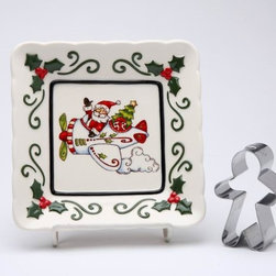 Cosmos - 5.5 Inch Santa Claus Flying Plane Plate with Gingerbread Cookie Cutter - This gorgeous 5.5 Inch Santa Claus Flying Plane Plate with Gingerbread Cookie Cutter has the finest details and highest quality you will find anywhere! 5.5 Inch Santa Claus Flying Plane Plate with Gingerbread Cookie Cutter is truly remarkable.