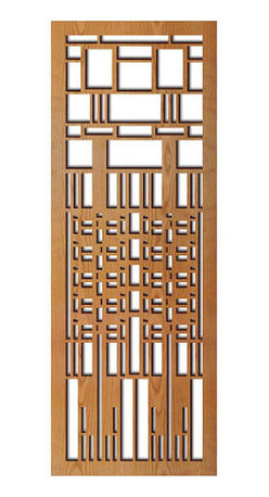 """Lightwave Laser - Frank Lloyd Wright Dana Window Wood Art Screen Wall Panel Cherry - This stunning Frank Lloyd Wright Dana Window Wood Art Screen Wall Panel Cherry measures 31.5"""" x 11.5"""" x .5"""" depth and has been precision laser-cut and comes with a cherry veneer finish. Each panel is notched on the back for hanging and includes hanging screw. This Frank Lloyd Wright Dana Window design is adapted from the suspended art glass curtain in the Gallery Wing in the Susan Lawrence Dana House (Springfield, Illinois, 1904)."""