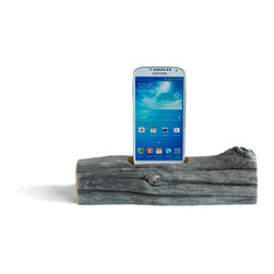 Docksmith - Docking Station for a Smartphone- Driftwood from Maine, Smasung Galaxy S4/S5 - Charge your smart phone on a piece of driftwood. Each piece is of natures design using the wind, sea and sand as it's tools. Our beach driftwood is collected on the coast of Maine and then crafted by us for you.