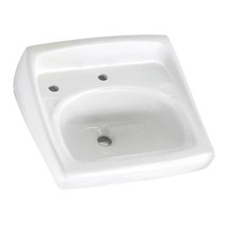 """American Standard - American Standard 0356.115.020 Lucerne Wall-Hung Sink w/ Lotion Dispenser, White - American Standard 0356.115.020 Lucerne Wall-Hung Sink w/extra hole for Lotion Dispenser, White. This wall-hung lavatory is constructed of vitreous china, and includes a wall-hanger mounting, a D-shaped bowl, a self-draining deck area with contoured back and side splash shields, and a faucet ledge. This model comes with a single, centered faucet mounting hole with an extra left-hand hole, and it measures 20-1/2"""" by 18-1/4"""", with a 6-1/2"""" bowl depth."""