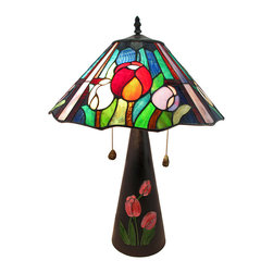 Zeckos - Limited Edition Stained Glass Oriental Tulip Table Lamp 23 In. Tall - This beautiful leaded stained glass table lamp adds a colorful accent to any room in your home. Measuring 23 inches tall, 15 inches in diameter, the lamp features a heavy, conical cold cast resin base with hand-painted tulip accents. The gorgeous tulip themed shade made out of over 100 pieces of yellow, blue, green and purple stained glass. The lamp uses two 75 watt (max) type A bulbs (not included), and has a brown 6 foot long power cord. Included is a certificate of limited edition, indicating that this piece is limited in production to only 650 pieces, and the design is by artist J.J. Peng. This lamp is sure to be admired and makes a great gift.