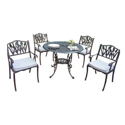 """Oakland Living - Oakland Living Mississippi 42"""" Tulip 5-Piece Dining Set with Cushions - Oakland Living - Patio Dining Sets - 201110129AB - About This Product:"""