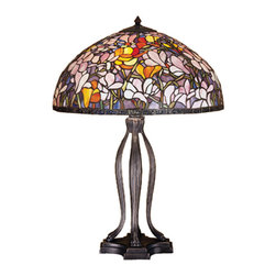 Meyda - 30 Inch Height Tiffany Magnolia Table Lamps - Color theme: Purple/Blue Pink Orange Pbagwr