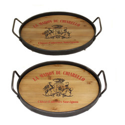 ecWorld - La Maison Du Chiarello Wood and Metal Serving Tray - Set of 2 - Entertain in casual elegance and serve a variety of delicious foods or drinks on these practical serving trays. Beautifully made with a combination of wood and metal and decorated with La Maison Du Chiarello code of arms. Very easy to store, nice display pieces and  functional to keep around the kitchen.
