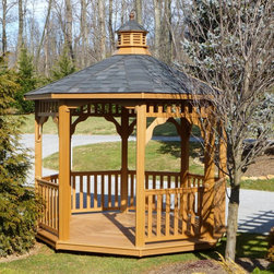 "Highwood - highwood Luxury Octagonal Gazebo - AD-GZ101-TFE - Shop for Gazebos from Hayneedle.com! The highwood Luxury Octagonal Gazebo is crafted from unique eco-friendly Highwood synthetic wood that's designed to exude all the natural beauty of wood. This gazebo offers a rustic natural outdoor space where you can really relax. Proudly made in the USA and hand-crafted by Amish woodworkers it s beautiful elegant and durable. Available in size options. About Highwood Synthetic Wood: Highwood Synthetic Wood is truly ""Nature's Closest Rival"" and is the world s most realistic alternative to wood. This unique ultra-low maintenance material has been used extensively for almost 10 years by major theme-parks across the world wherever the look of natural wood (without the maintenance) was needed. While other poly or HDPE materials have a soft waxy and plastic appearance/texture Highwood features premium NatureTEX embossed surfaces that are harder and more appealing to the touch. The rich wood-grain colors some of which feature grain like streaking run to the core of the material and are extremely fade resistant. There is no wood-fiber content in these eco-friendly recyclable products (it is not a composite ) and the material will not absorb moisture. Highwood USA manufactures the material (and the products are hand crafted/assembled) in Pennsylvania providing you with a 100% Made in the USA product that they stand behind with pride. Please note this product does not ship to Pennsylvania About Highwood USA Highwood USA was founded in 2003 with the goal of being the highest-sought choice for premium synthetic products. The company specializes in outdoor structures and furnishings constructed with materials that mimic the look of nature s finest materials and provide years and years of durability with very little maintenance."
