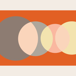 "Emma at Home - Foureyes Horizontal Print, Creamsicle, 20"" x 30"" - Like phases of the moon or a sun rising and setting across the sky, this print calls to mind the beauty of the celestial bodies. The graphic design leaves room for interpretation, encouraging thoughtful gazing."