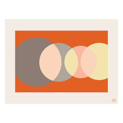 """Emma at Home - Foureyes Horizontal Print, Creamsicle, 20"""" x 30"""" - Like phases of the moon or a sun rising and setting across the sky, this print calls to mind the beauty of the celestial bodies. The graphic design leaves room for interpretation, encouraging thoughtful gazing."""