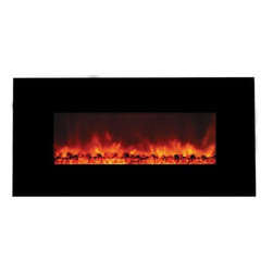 "Yosemite Home Decor - Carbon Flame 44 - Yosemite Home Decor - Carbon Flame 44 will look absolutely perfect in a contemporary home or interior.  It has a sleek glass surface that comes in a smooth black finish.  Because of its easy wall mount installation the fireplace can be hung on any empty wall to suit the interior of the room.  The flames produced come in a patented pattern that seeks to imitate the look of real flames.  The DF-EFP1000 can double as an electric heater thus adding value for your money.  To top everything off operation is a breeze with the remote control that is included in the package.  The Carbon Flame 44 provides value "" both in aesthetics and functionality ""  to a room."