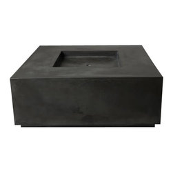 "Hart Concrete Design - 60"" Block Quadra Firepit in Iron - The Block Quadra Firepit is handmade to order by Hart Concrete Design in the United States. Designed to run on Natural gas but can also be outfitted to run on propane. Each piece includes a Stainless Steel Burner and Shut off valve."