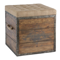 Aidan Gray - Aidan Gray Article No. 54 Wooden Cube - This old wood crate look has a tufted burlap removable top and woven handle. The crate is lined in rustic distressed metal and nailed into place.