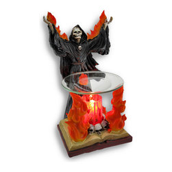 Zeckos - Vapours Gothic Grim Reaper Lighted Electric Oil and Wax Warmer - From the flames of the grim reaper rise unbelievable scents filling your room and your home This cool Gothic angel of death electric oil warmer features a skeletal black robed grim reaper with his flaming arms outstretched standing in front of his burning alter that also doubles as the warmer A glass plate is upheld with the flames that emit from his burning book alter while macabre skulls line a red glass cylinder that houses the heating element/lamp that will bestow an eerie glow when illuminated. Crafted from poly resin and glass, this sentient being will make his 9 1/2 inch (24 cm) high, 5 1/4 inch (13 cm) long, 6 inch (15 cm) wide presence known with your favorite fragrance filling the air. This electric oil warmer has a 64 inch (163 cm) long power cord with an in-line light and scent intensity knob, giving you complete control over this harbinger of doom Simply place a few drops of your favorite scented oil or wax cubes onto the plate, and enjoy the wonderful aromas that will relax or invigorate you It requires a 35 watt halogen bulb(included) to warm the oil or wax, and then simply wipe the plate clean with a paper towel after use. It makes a great gift for Gothic and macabre decor collectors, or even just for yourself