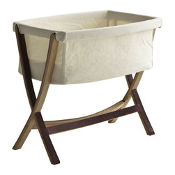 ecofirstart - CULLA LETIZIA - If only the very best will do for your priceless bundle of perfection, this artisan-crafted baby bassinet is simply breathtaking. In a striking collaboration of reclaimed barrel wood and handwoven linen, you can confidently cradle your newborn with a lullaby of quiet lines and classic design.