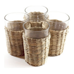 Seagrass Tumblers with Sleeves, Set of 6 - Stock up and get your table ready for summer entertaining. These Seagrass Tumblers with Sleeves make sipping coolers and lemonade a breeze. Each glass is removable from its earthy, casual, and fun seagrass sleeve for easy washing. Cheers to that!