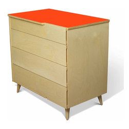 True Modern - 11-ply dressers-Org - TrueModern's 11 Ply collection is a fresh update on old school modern design. With its turned Danish style legs and exposed plywood edges, the 11 Ply Dresser has plenty of storage for both kids and adults. There are cutout handles on the top and side of the top drawer and on the sides of the other drawers. Made of sustainable birch plywood, the 11 Ply dresser coordinates with the nightstand and bed  match the laminate tops or mix it up with different colors for each piece!