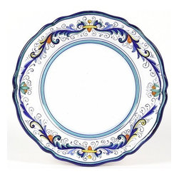 Artistica - Hand Made in Italy - VECCHIA DERUTA LITE: Charger Plate (Simple Decor - SIM) - VECCHIA DERUTA Collection: (Old Deruta) - A richer and more formal version of the renowned Ricco Deruta pattern. Featuring scalloped rim plates with a dominant royal blue trim. Both inspired by the frescoes of the master Renaissance artist Raphael.