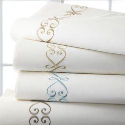 Horchow - Each Standard Embroidered Pillowcase - Scroll-embroidered sheeting is by Hamburg House™. Made in the USA of 275-thread-count Egyptian cotton from Italy. Machine wash. Select embroidery color when ordering.