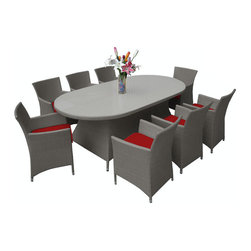 "Reef Rattan - Reef Rattan Montserrat 9 Pc Dining Set - Grey Rattan / Red Cushions - Reef Rattan Montserrat 9 Pc Dining Set - Grey Rattan / Red Cushions. This patio set is made from all-weather resin wicker and produced to fulfill your needs for high quality. The resin wicker in this patio set won't fade, shrink, lose its strength, or snap. UV resistant and water resistant, this patio set is durable and easy to maintain. A rust-free powder-coated aluminum frame provides strength to withstand years of use. Sunbrella fabrics on patio furniture lends you the sophistication of a five star hotel, right in your outdoor living space, featuring industry leading Sunbrella fabrics. Designed to reflect that ultra-chic look, and with superior resistance to the elements in a variety of climates, the series stands for comfort, class, and constancy. Recreating the poolside high end feel of an upmarket hotel for outdoor living in a residence or commercial space is easy with this patio furniture. After all, you want a set of patio furniture that's going to look great, and do so for the long-term. The canvas-like fabrics which are designed by Sunbrella utilize the latest synthetic fiber technology are engineered to resist stains and UV fading. This is patio furniture that is made to endure, along with the classic look they represent. When you're creating a comfortable and stylish outdoor room, you're looking for the best quality at a price that makes sense. Resin wicker looks like natural wicker but is made of synthetic polyethylene fiber. Resin wicker is durable & easy to maintain and resistant against the elements. UV Resistant Wicker. Welded aluminum frame is nearly in-destructible and rust free. Stain resistant sunbrella cushions are double-stitched for strength and are fully machine washable. Removable covers made with commercial grade zippers. Tables include tempered glass top. 5 year warranty on this product. Oval Table: W 55"" D 35"" H 28"", Chairs (8): W 24"" D 24"" H 33"""