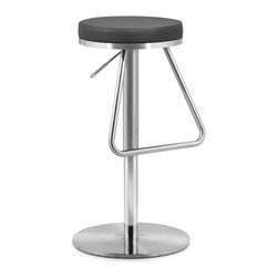 Zuo Modern - Soda Barstool Black - The Soda barstool has an adjustable stainless steel frame and a plush seat wrapped in either black, white or espresso leatherette. Stay nostalgic with our Soda barstool.