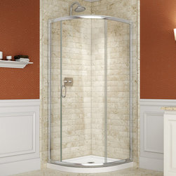 """Dreamline - Solo Frameless Sliding Shower Enclosure & SlimLine 36"""" x 36"""" Quarter Round Base - This kit combines a SOLO shower enclosure with a SlimLine shower base for a complete shower transformation. The SOLO quarter round shower enclosure opens up the look of a smaller bathroom. The sliding door creates a comfortably wide opening without claiming the space required for a swing door. A SlimLine shower base adds sleek modern look with low profile design. Choose a DreamLine shower kit for an efficient and cost effective bathroom renovation solution."""