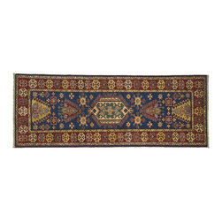 Area Rug, Hand Knotted 3'X7' High Quality Kazak Runner Navy 100% Wool Rug SH7992 - This collections consists of well known classical southwestern designs like Kazaks, Serapis, Herizs, Mamluks, Kilims, and Bokaras. These tribal motifs are very popular down in the South and especially out west.