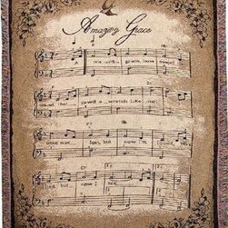 `How Sweet the Sound` Sheet Music Tapestry Throw Blanket 50 In. X 60 In. - This multicolored woven tapestry throw blanket is a wonderful addition to any home. Made of cotton, the blanket measures 50 inches wide, 60 inches long, and has approximately 1 1/2 inches of fringe around the border. The blanket features a print of sheet music to `Amazing Grace`. Care instructions are to machine wash in cold water on a delicate cycle, tumble dry on low heat, wash with dark colors separately, and do not bleach. This comfy blanket makes a great gift for friends and family.